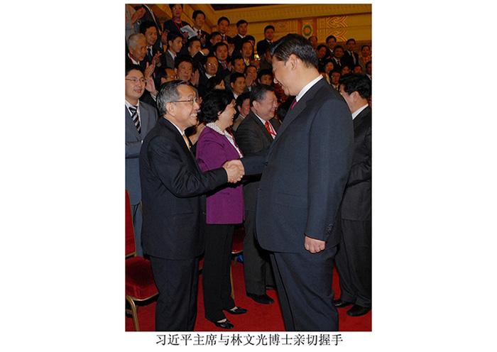 习近平主席与公司董事长林文光博士亲切握手